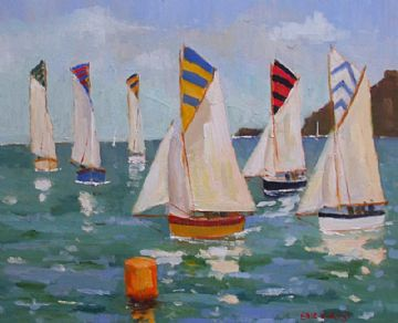 Eric Ward Original Oil Painting Sailing Boats In Cornwall